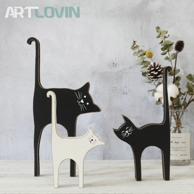 Picket Cat Figures Classic Residence Decor Collectible figurines Wooden Basic Couple Cat Statue Sculpture Residence Ornament Equipment New Arrival Collectible figurines & Miniatures, Low cost Collectible figurines & Miniatures,...