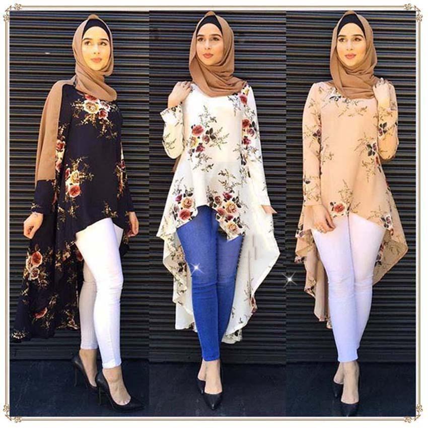Woman Tuxedo Style Irregular Muslim Abaya Dress Muslimah Islamic Blouse Floral Soft Thin Coat Tops Arab Fashion Clothing