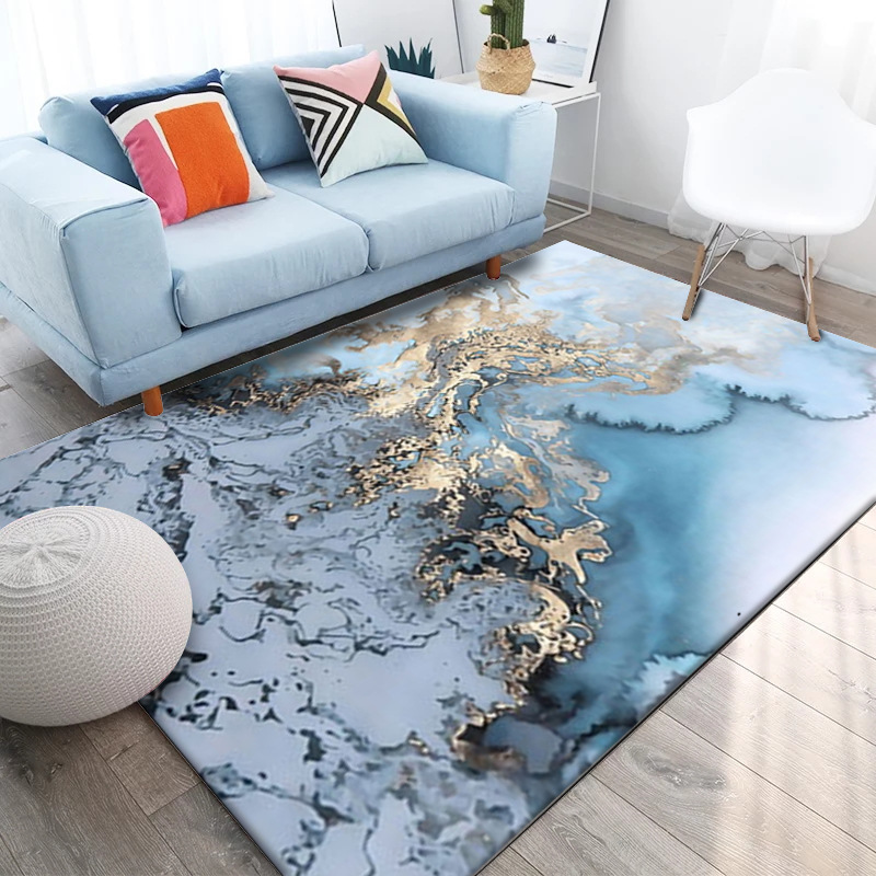 DeMissir Modern 2019 Abstract Arts Carpets Sky Blue Seawater Ink Golden Printed Rugs For Living Room Bedroom 10Kind Sizes Tapete