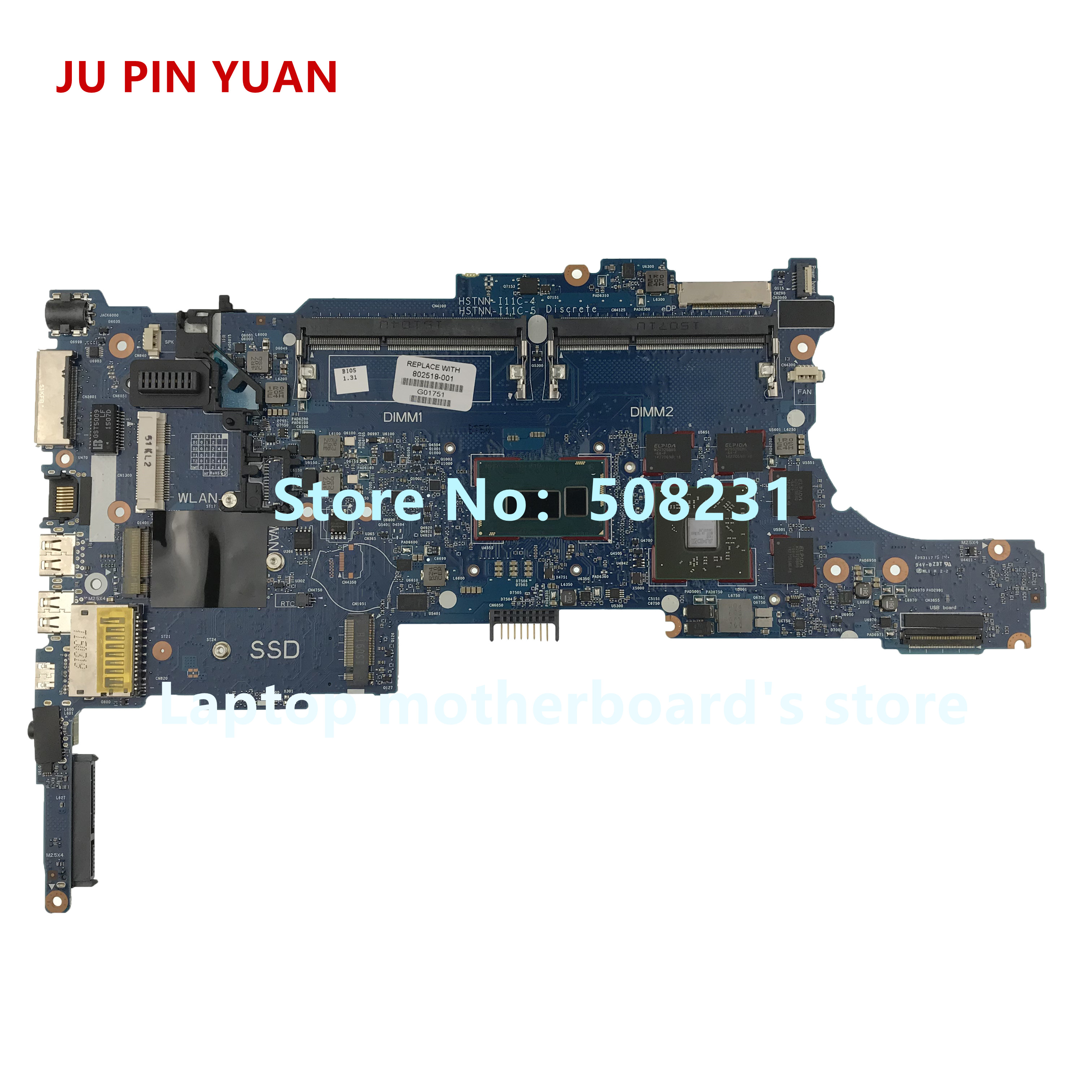 JU PIN YUAN 802518 601 802518 501 802518 001 For HP 840 for HP EliteBook 840 G1 Laptop motherboard With i7 4600U fully Tested