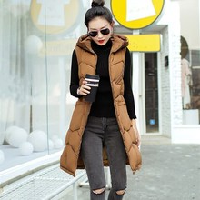 Fashion Women Hooded Casual Vests Autumn Winter Down Cotton Padded Slim Waistcoat Female Mid-Long Sleeveless Jackets