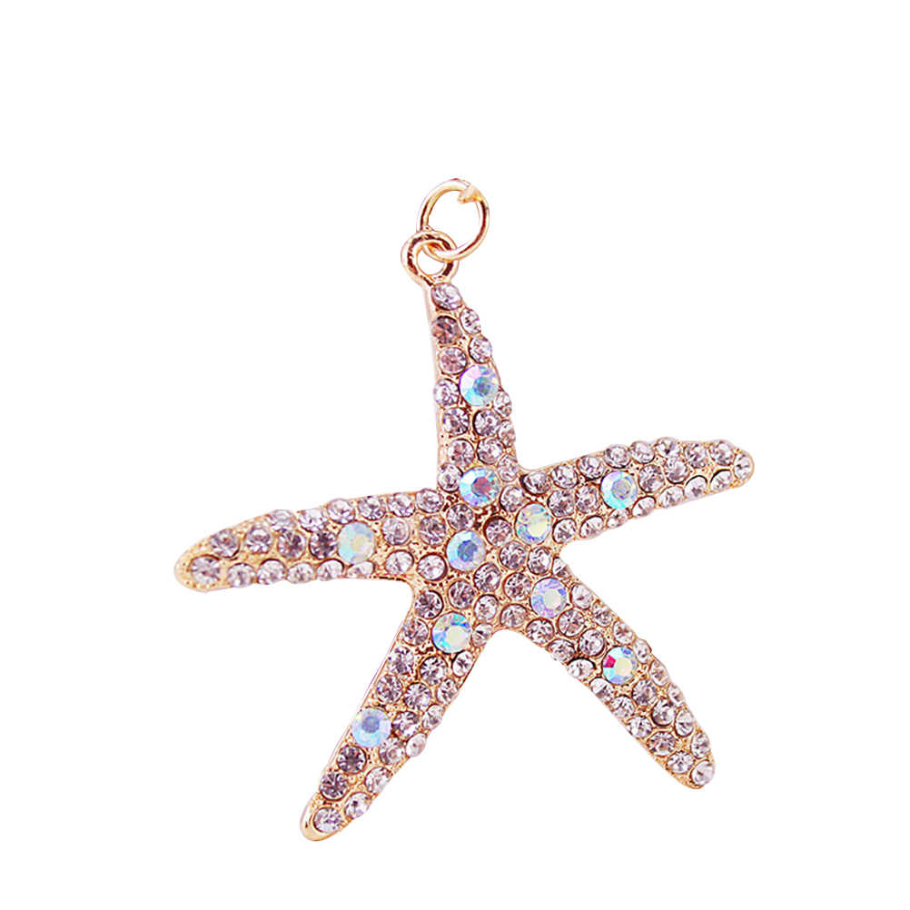 1 pcs Sea Star Rhinestone พวงกุญแจน่ารัก Charm ตกแต่งแขวนรถ Keyring ของขวัญสร้างสรรค์