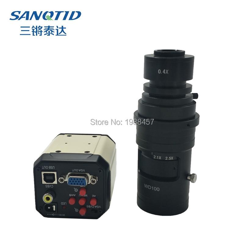 High Definition 2MP Microscope Industrial Camera CCD VGA/AV/USB Electronic Digital Magnifier+0.4X Microscope Lens C/CS