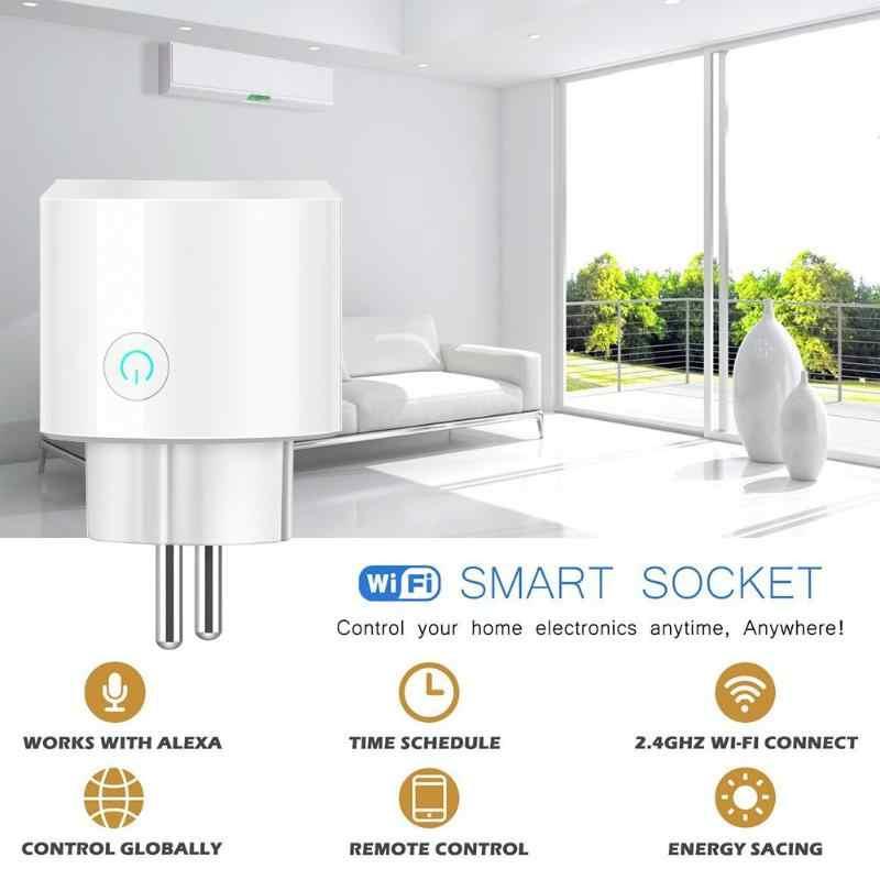 ЕС умный дом вилка беспроводной Таймер WiFi Пульт дистанционного управления розетка с выключателем выход Поддержка синхронизации переключатель для Alexa Google Home