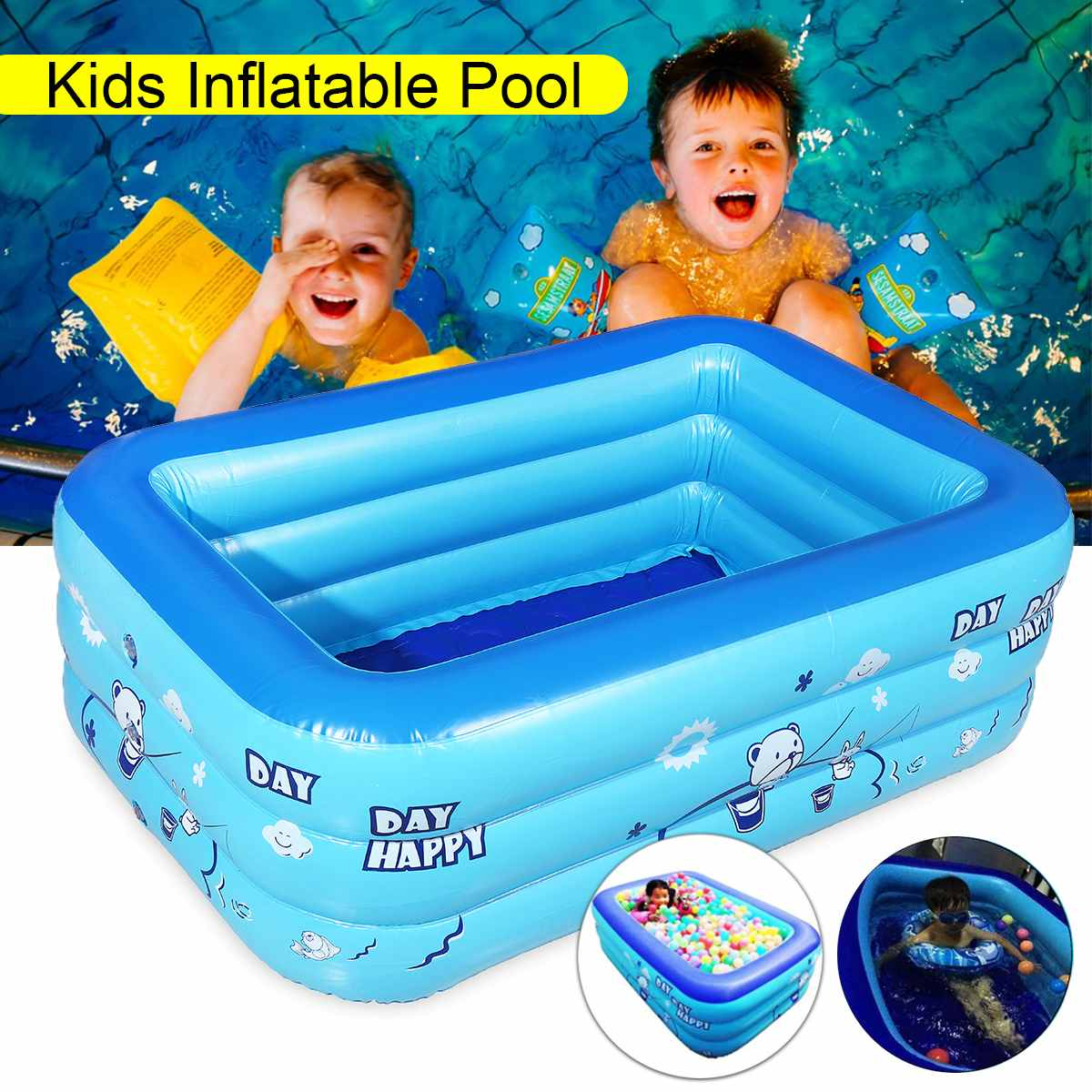 Large Inflatable Outdoor Children Paddling Bathtub Water Baby Swimming Bath Pool Blue PVC Rectangle 120x70cm Anti-slipLarge Inflatable Outdoor Children Paddling Bathtub Water Baby Swimming Bath Pool Blue PVC Rectangle 120x70cm Anti-slip