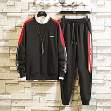 2019 spring new hooded loose sweater sportswear sports pants men's two-piece casual suit male quality materials Free shipping цена 2017