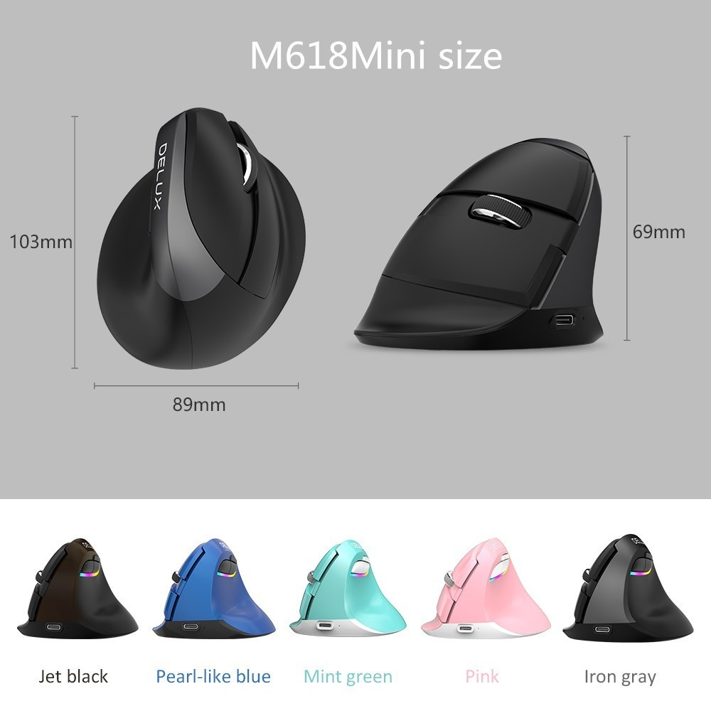 Delux M618 Mini Bluetooth USB Wireless Mouse Silent Click RGB Ergonomic Rechargeable Vertical Mice for Small
