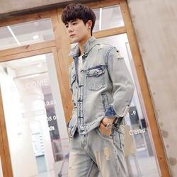 2019 Новые Классические Винтаж модные джинсовые Для мужчин набор пара Костюмы свободные красивые джинсы куртки рваные отверстие джинсы