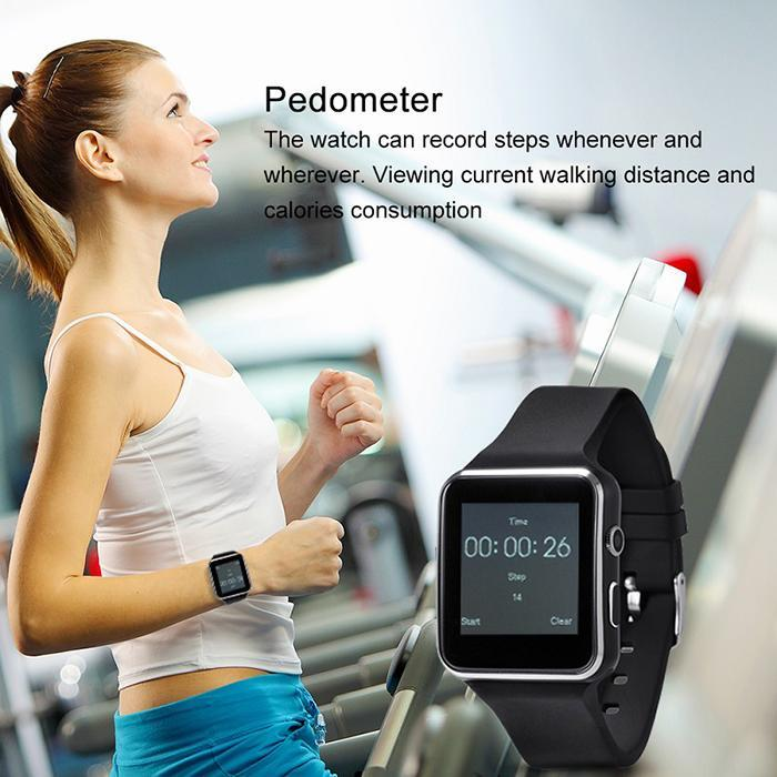 2019 New Curved Screen X6 Smart Sport Pedometer Running Step Counter Wrist Watch Fitness Pedometer Support SIM TF Card in Pedometers from Sports Entertainment