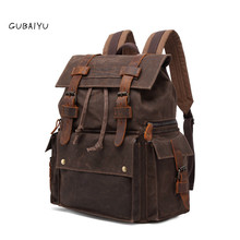 Vintage Luxury Canvas Backpacks for Men Oil Wax Leather Travel Backpack Large Waterproof Daypacks Retro Bagpack