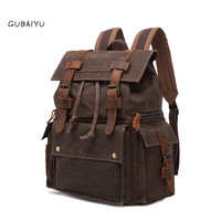 Vintage Luxury Vintage Canvas Backpacks for Men Oil Wax Canvas Leather Travel Backpack Large Waterproof Daypacks Retro Bagpack