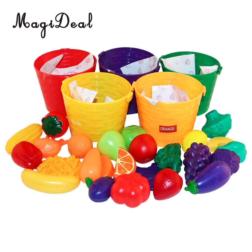 Role Play 30 Pieces 5 Colors Baskets Fruits Vegetables Cognition & Sorting Toy Kids Pretend Play Creative Educational Toy