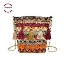 2019 Fashion New National Wind Women Weaving Tassel Shoulder Bag Messenger Crossbody Bags Girls Cute Handle Straw