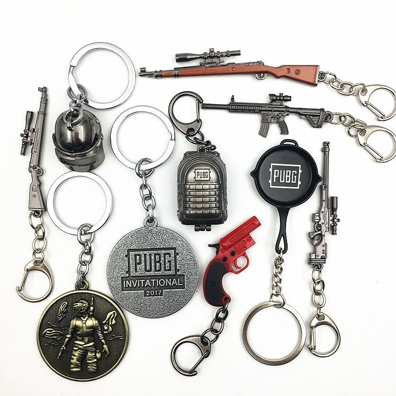 Hot Game PUBG Keychain Fashion Playerunknown's Battlegrounds Cosplay Costume Keyrings Gun Hemlet Pan Metal Key Chain Jewelry