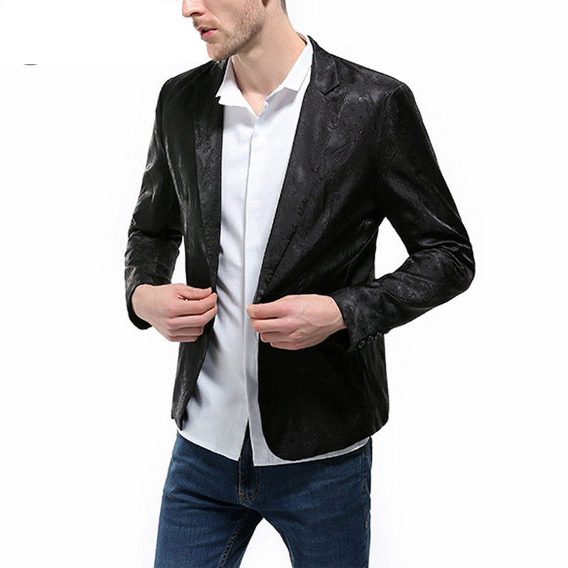 Men Fashion One Button Slim Fit Casual Business Suit Men Slim Fit Blazer Pattern Designs 3XL Stylish Black White Blazers For Men