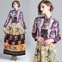 Brand Runway Shirt Dress Women Elegant 2018 Spring Autumn Flower Tiger Cat Snake Dresses Buttons Laces Long Sleeve Maxi Dress
