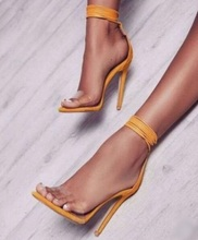 Hot Selling Yellow Tie-up Strappy Women Sandals Sky High Heels Transparent PVC Sandals Cut-out Cross Strap Summer Dress Shoes
