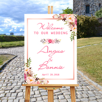 Welcome To Our Wedding With Floral Sign,White Wedding Guest Book,Personalized Wedding Welcome Sign,Custom Wooden Gift For Couple