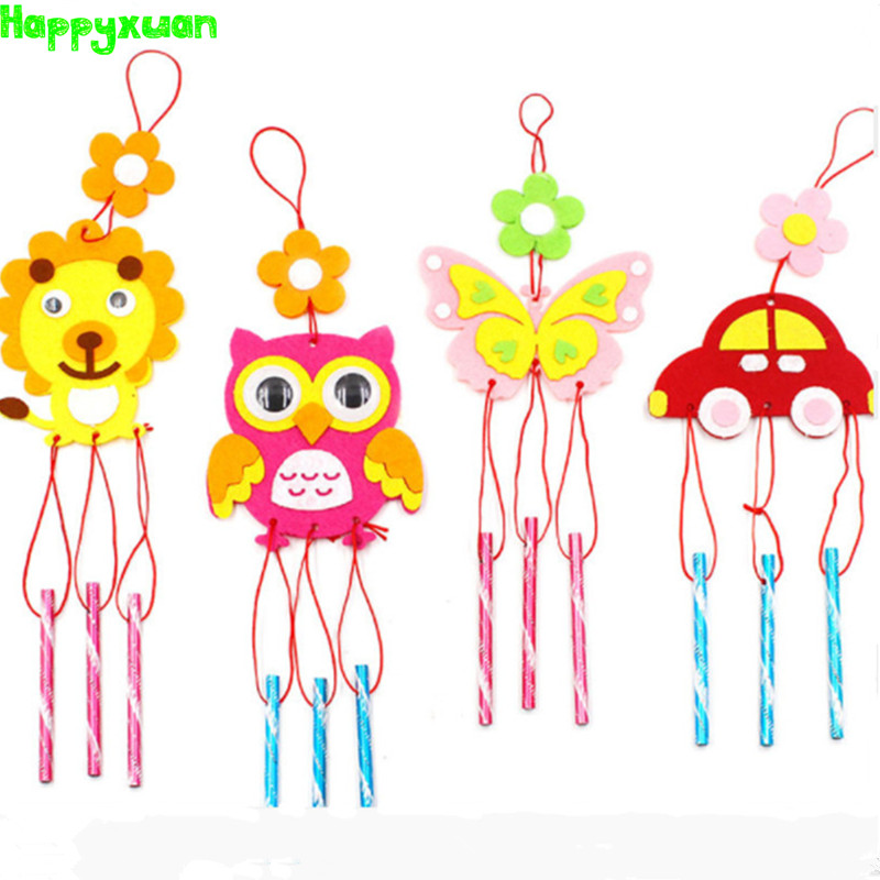 Happyxuan 16pcs 2018 Handmade Felt Fabric Toys Hangings Wind Chimes Cartoon Animal DIY Art Craft Kits Kindergarten Kid Education