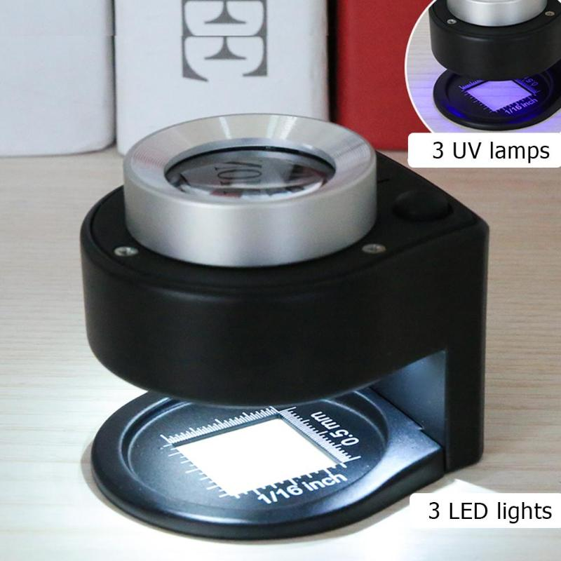 30X Lupa Lente de Vidro Óptico Full Metal Folding Linen Tester Contador de Rosca Da Lâmpada Lupa Lupa Lupa Vidro Com 6LED