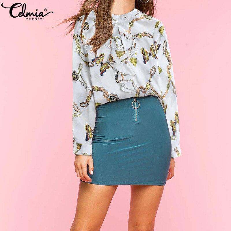 Celmia Women Chiffon Blouse 2019 Spring Printed Shirts
