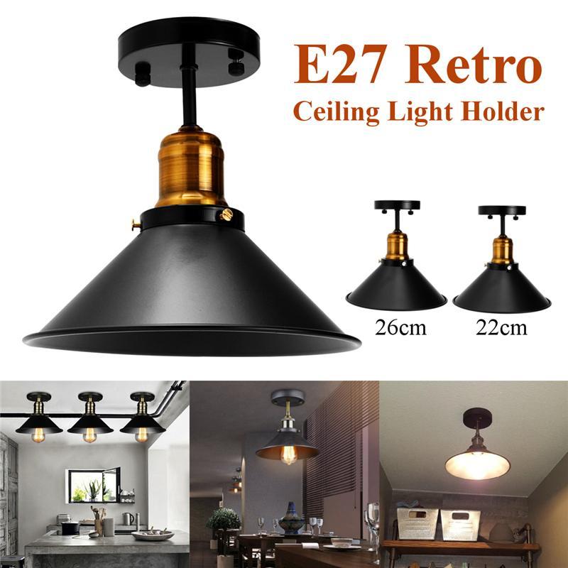 Black E27 Ceiling Light Loft Vintage Round Retro Ceiling Light Industrial Design Edison Bulb Home Bar Cafe Shop Lighting Fixture