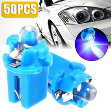 Mayitr 50pcs 12V T5 B8.3D 1SMD Blue LED Light Auto Interior Dome Dashboard Panel Side Bulb for Car Truck Boat Lighting