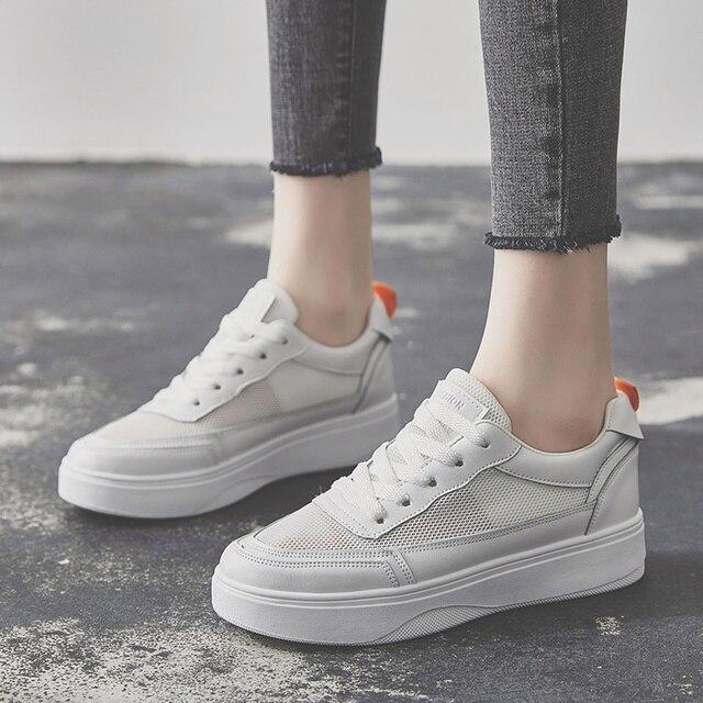 Trắng Giày Sneakers Người Phụ Nữ Nữ Huấn Luyện Viên Giản Dị Lưới Phụ Nữ Giày Ren Up Breathable Nền Tảng Giày Phẳng Giày Phụ Nữ Mujer Zapatillas