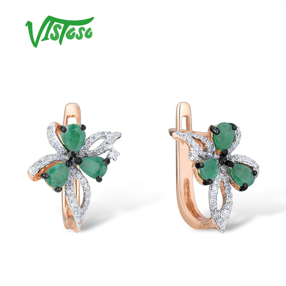 VISTOSO 14K 585 Rose Gold Bowknot Earrings For Women Glamorous Elegant Emerald Sparkling Diamond Glamorous Trendy Fine Jewelry