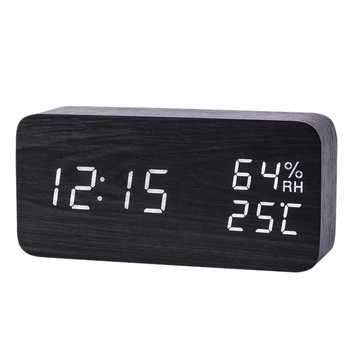 Modern Led Alarm Clock Temperature Humidity Electronic Desktop Digital Table Clocks,Black + white subtitles - DISCOUNT ITEM  36 OFF Home & Garden