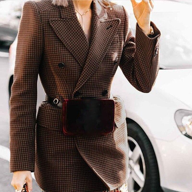 Coat 2019 Grande Mode Longues Femme Plaid De Pardessus Cru Mince Fi462 Manches Manteaux Coffee Femmes Tailles À Laine Printemps Blazer Tweed Plus Shengpalae UBaqgAx