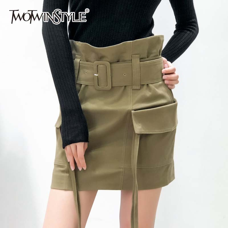 TWOTWINSTYLE Autumn Casual Women Skirts High Waist Lace Up With Sashes A Line Mini Skirts Female