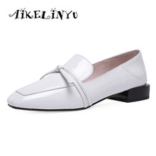 AIKELINYU 2019 New Lady Casual Pumps Genuine Leather Women Shoes Slip-on Leisure Fashion Deep shoes Comfortable Office Lady Shoe