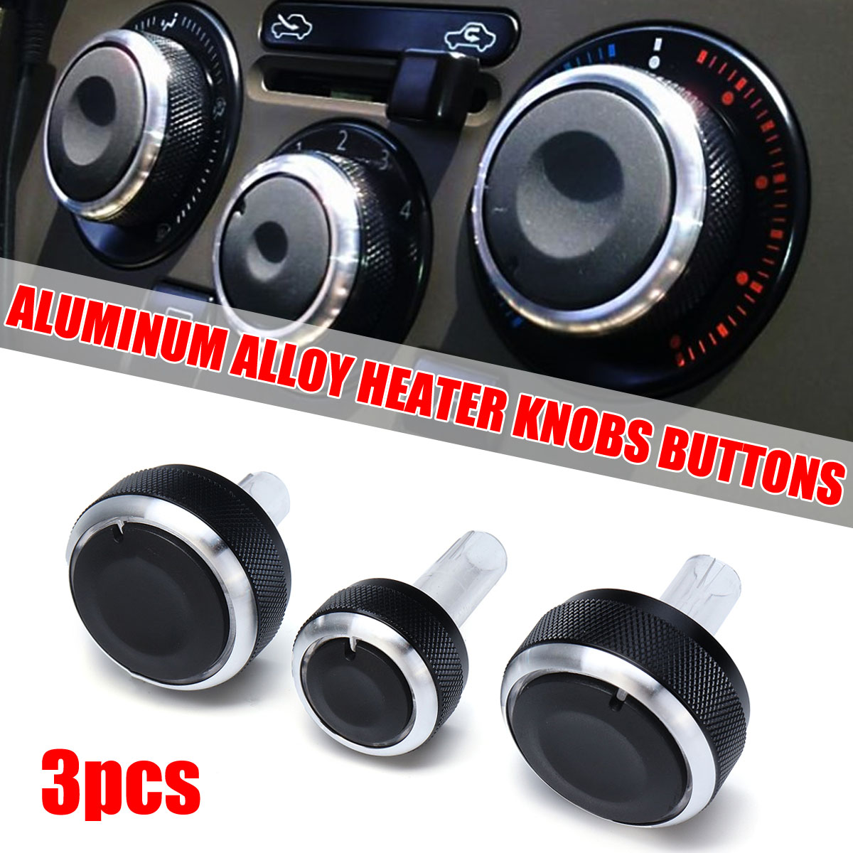 3PCS Aluminium Car AC Knobs Control Buttons Heater Knobs Buttons For Volkswagen for <font><b>VW</b></font> <font><b>Golf</b></font> MK4/Polo 6N2/Bora/Passat B5/B5.5 image