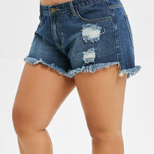 Wipalo Summer Shorts Mid-Waist Ripped Distressed Plus-Size Women Straight Casual Fashion
