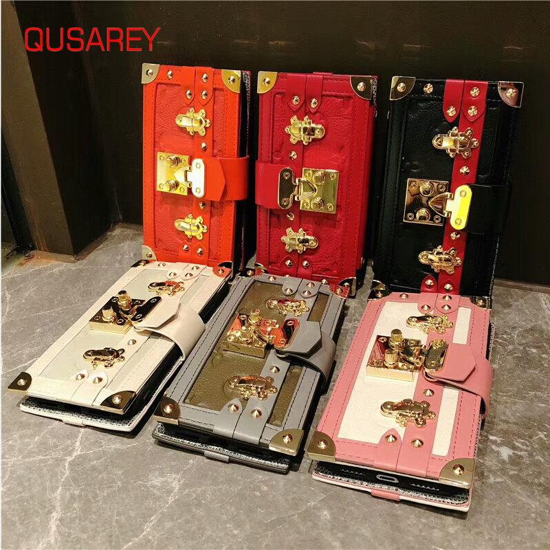 QUSAREY Luxury Leather Wallet Phone Bag Cases For iPhone 6s 6 For iPhone X 8 7Plus XS XRCase Mobile Cover Fashion Women Bag Case