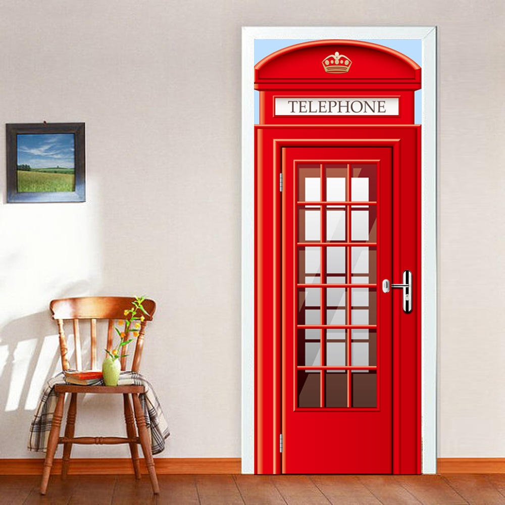 Door Sticker London Red Telephone Booth Self-adhesive Door Sticker Waterproof PVC Film Eco-Friendly Vinyl Wall Mural Decor