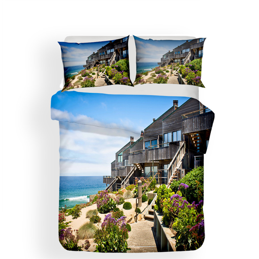 Bedding Set 3D Printed Duvet Cover Bed Set Beach Resort Home Textiles for Adults Lifelike Bedclothes with Pillowcase HL12 in Bedding Sets from Home Garden