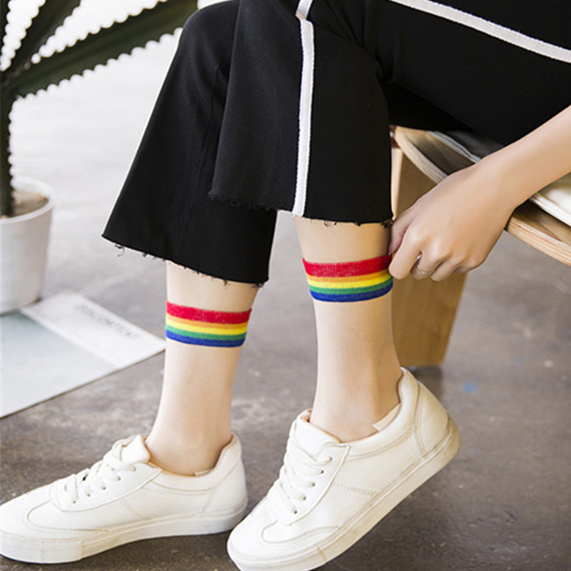 Ins Style Fashion Transparent Rainbow Short Socks Women Summer Thin Harajuku Ankle Sock Hipster Art Low Cute Socks Fmale 2 Pairs