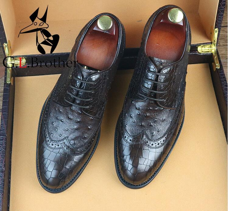 Men's Dress Shoes Handmade Pleated Genuine Leather Plaid Male Smart Casual Oxfords Lace Up Wedding Shoes plaid pleated cami dress