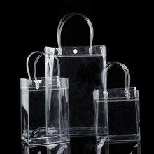1 шт. Прозрачная вместительная сумка ПВХ прозрачная сумка для покупок Resuable ПВХ сумка на плечо сумки экологически безопасные сумки для хранения женщин девочек