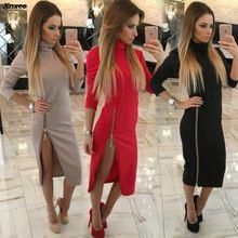 Xnxee 2019 Autumn High Lead Zipper Dress Women Elegant Daily Solid Dresses