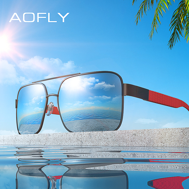 1b7c3ace7e AOFLY BRAND DESIGN Polarized Sunglasses Men Driving Square Metal Frame  Men s Glasses Male Eyewear Goggles UV400 Gafas AF8181