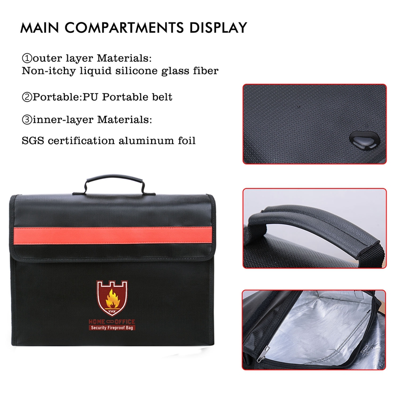 Image 5 - Fireproof Document Bag Non Itchy Fiberglass Cloth Waterproof Holder With Shoulder Strap Handle Bag-in File Folder from Office & School Supplies