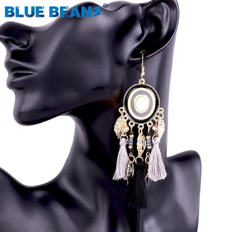 Tassel earrings for women bohemian trendy statement luxury long earring handmade gifts geometric fringe fashion drop statement