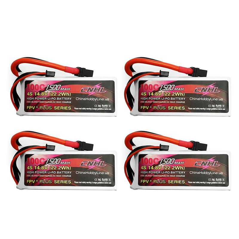 4PCS CNHL G+PLUS 14.8V <font><b>1500mAh</b></font> <font><b>4S</b></font> <font><b>100C</b></font> <font><b>Lipo</b></font> Battery XT60U Plug for RC Drone FPV Racing Models Spare Part DIY Accessories image