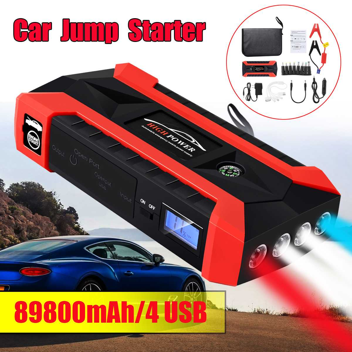 89800mAh 4USB Car Jump Starter Multifunction Emergency Charger Battery Power Bank Pack Booster 12V Starting Device