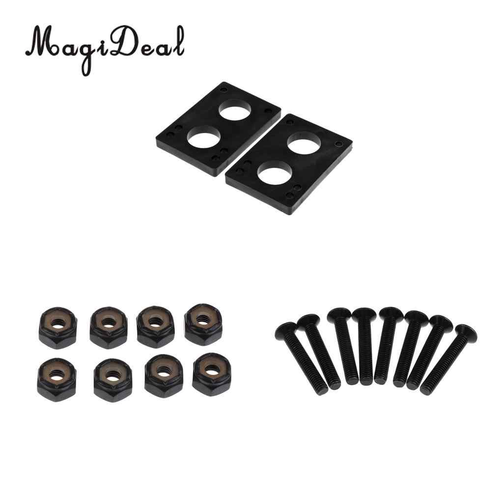 1 Pair 8mm Risers Shock Pads and 8 Pairs Bolts Screw Nut for Longboard Black