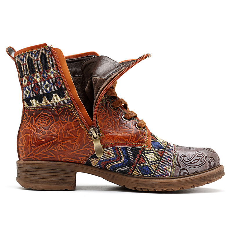 Women Bohemian Retro Leather Ankle Boots  2