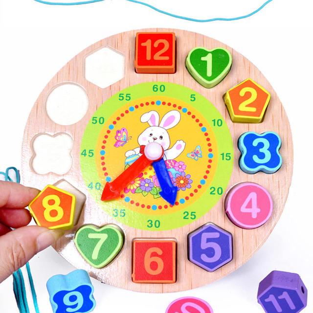 DIY Wooden Blocks Toys Digital Geometry Clock Toy Figure Blocks Children's Montessori Educational Toy For Children Baby Boys